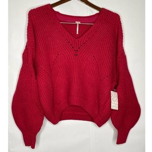 Free People NWT All Day Long V-Neck Sweater Small